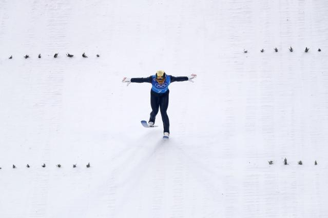 Nordic Combined Events - Pyeongchang 2018 Winter Olympics - Men's Team Gundersen LH Competition - Alpensia Ski Jumping Centre - Pyeongchang, South Korea - February 22, 2018 - Wilhelm Denifl of Austria competes. REUTERS/Kai Pfaffenbach