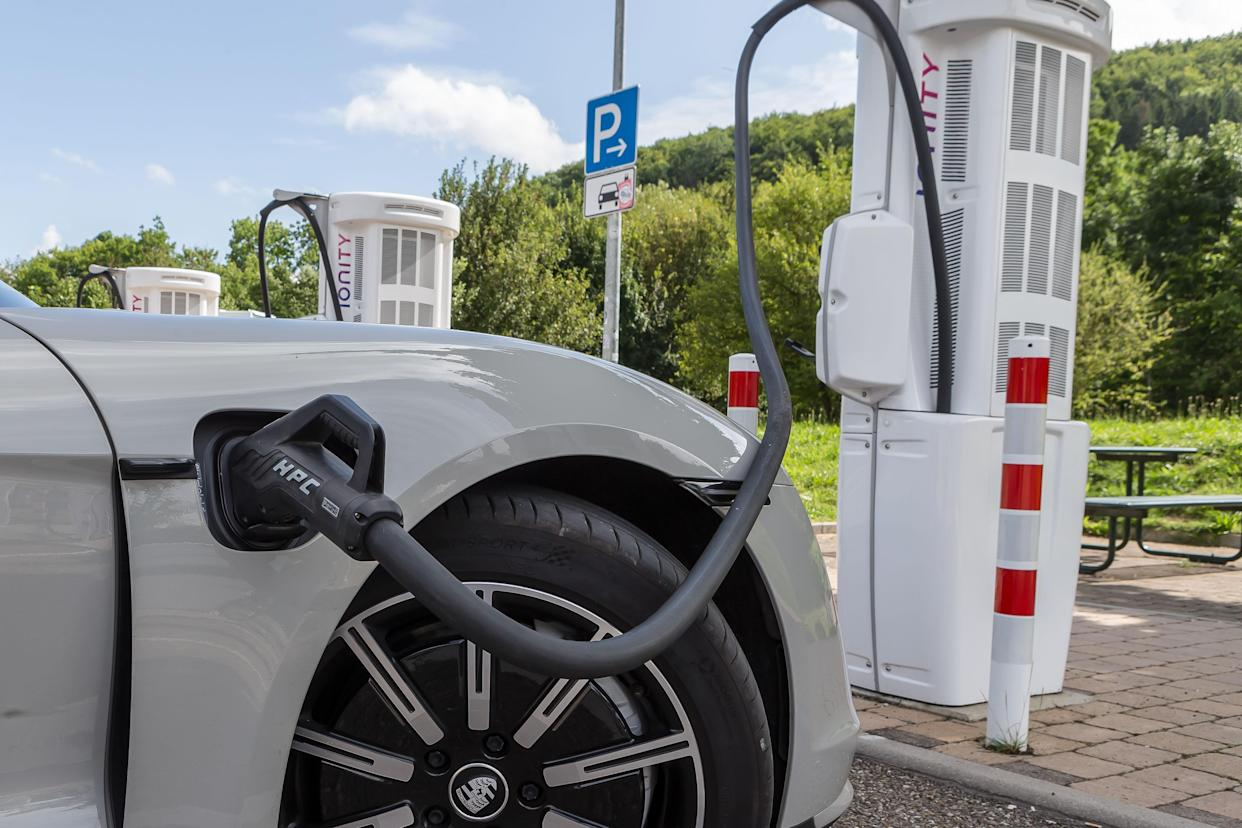 Gruebingen, Germany - August 17: (BILD ZEITUNG OUT) an E Porsche charging at a charging station at Rasthof Gruebingen on August 17, 2021 in Gruebingen, Germany. (Photo by Harry Langer/DeFodi Images via Getty Images)