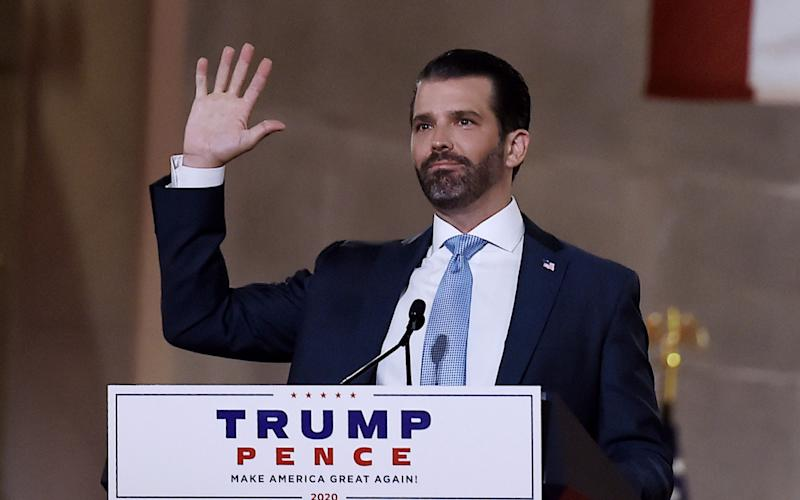 Donald Trump Jr. at yesterday's Republican convention - AFP