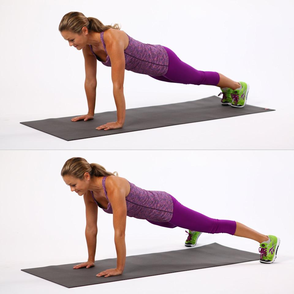 <ul><li>Begin in plank position with your feet together. Keep your upper body stable, and engage your abs. </li>  <li>Begin doing jumping jacks with your legs. Hop them wide, then hop them together. This counts as one rep.</li> </ul>