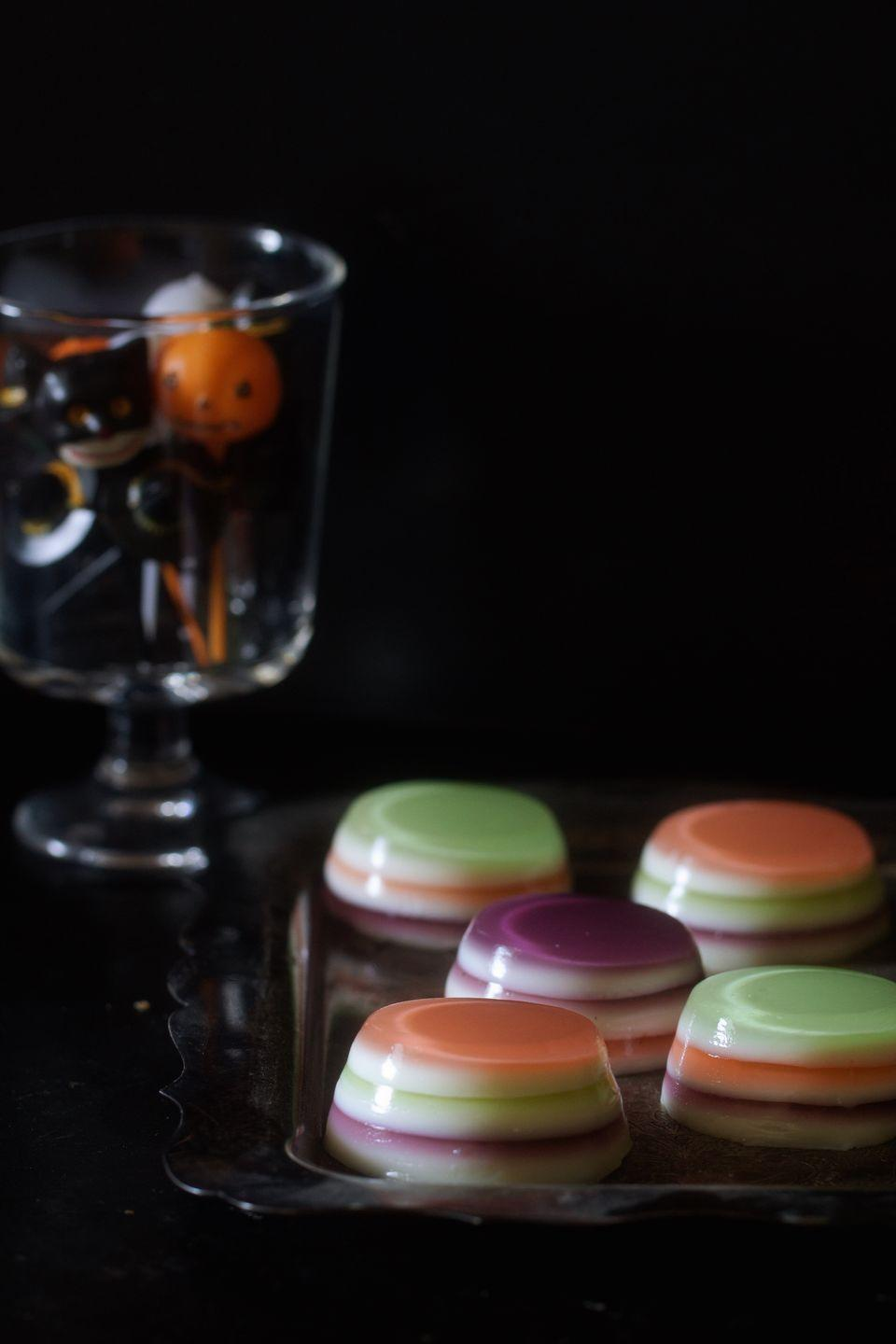 "<p>Get the monster mash started with this boozy treat.</p><p>Get the recipe from <a href=""https://www.delish.com/cooking/recipe-ideas/recipes/a43941/halloween-jell-o-shots-recipe/"" rel=""nofollow noopener"" target=""_blank"" data-ylk=""slk:Delish"" class=""link rapid-noclick-resp"">Delish</a>.<br></p><p><a class=""link rapid-noclick-resp"" href=""https://www.amazon.com/Wilton-Recipe-Right-Mini-Muffin/dp/B000SABX12/?tag=syn-yahoo-20&ascsubtag=%5Bartid%7C1782.g.151%5Bsrc%7Cyahoo-us"" rel=""nofollow noopener"" target=""_blank"" data-ylk=""slk:BUY NOW"">BUY NOW</a> <strong><em>Mini Muffin Pan Set, $20, amazon.com</em></strong></p>"