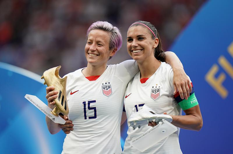 USA's Megan Rapinoe (left) and Alex Morgan with the adidas Golden Boot and adidas Silver Boot respectively after the game. USA v Netherlands - FIFA Women's World Cup 2019 - Final - Stade de Lyon 07-07-2019 . (Photo by John Walton/PA Images via Getty Images)