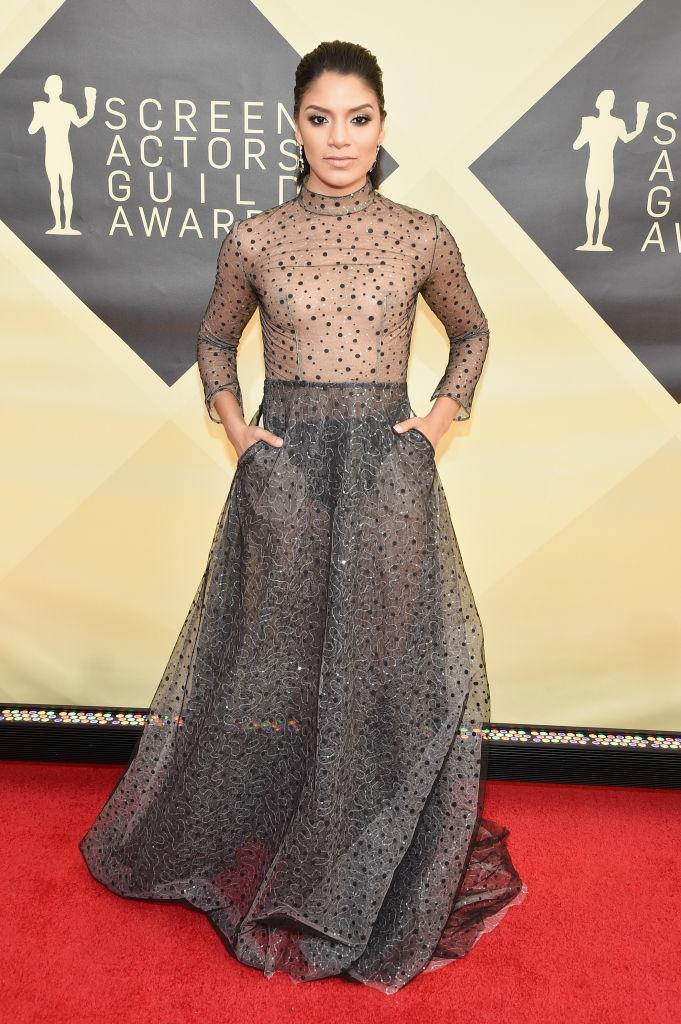 <p>The <em>GLOW</em> actress made a statement in a glimmering see-through dress. (Photo: Getty Images) </p>