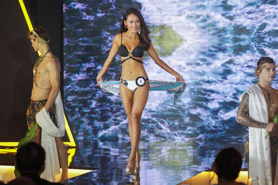 <p>First runner-up Tiong Jia En, 23, competing in the swimsuit segment at the Miss Universe Singapore Grand Finale at One Farrer Hotel on 31 August 2018. (PHOTO: Don Wong for Yahoo Lifestyle Singapore) </p>