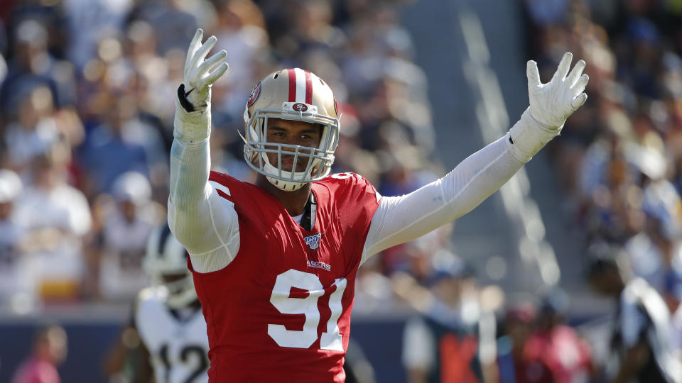 Defensive end Arik Armstead got a massive deal from the 49ers. (AP Photo/John Locher)