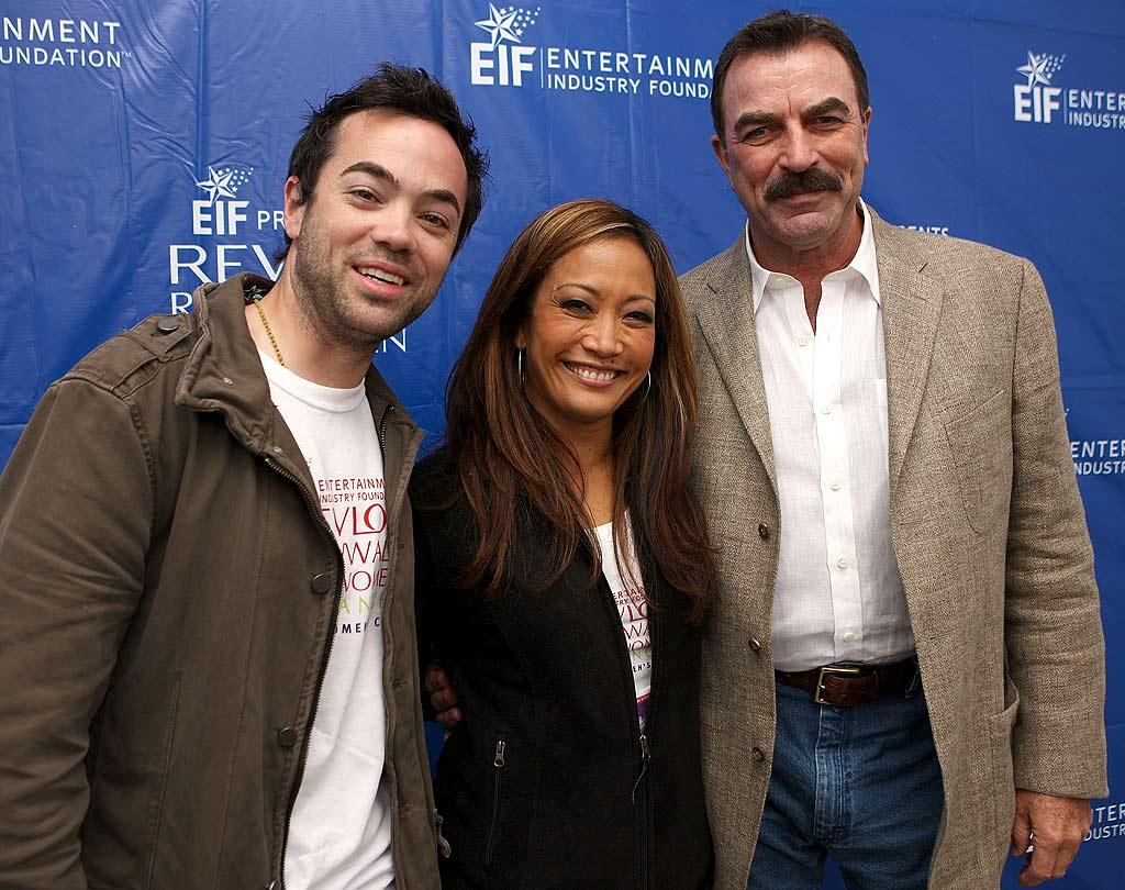 """Dancing With the Stars"" judge Carrie Ann Inaba is all smiles while posing with John Hensley (""Nip/Tuck"") and Tom Selleck. Chris Weeks/<a href=""http://www.wireimage.com"" target=""new"">WireImage.com</a> - May 10, 2008"