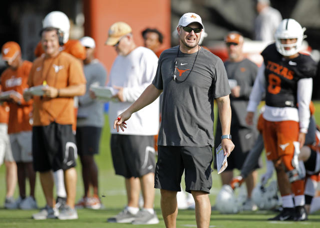 Texas Longhorns head coach Tom Herman yells instructions during practice Wednesday Sept. 4, 2019 in Austin, Tx. ( Photo by Edward A. Ornelas )