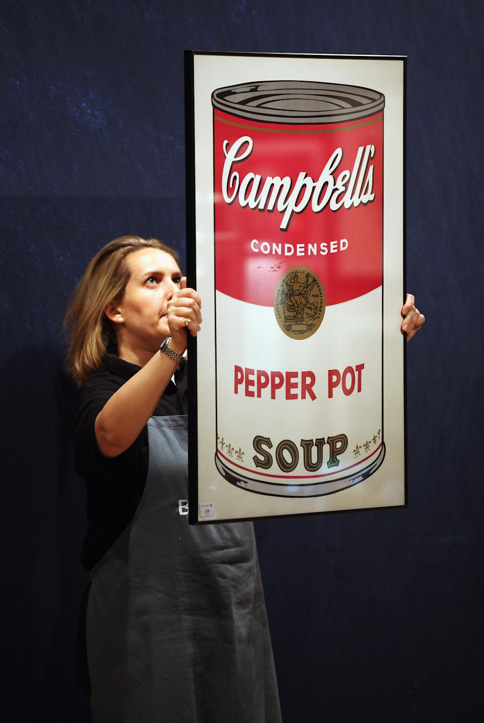 """Evidence of Campbell's pepper pot soup, as seen in an Andy Warhol print entitled """"Campbell's Soup I: Pepper Pot,"""" auctioned in 2011. (Photo: Oli Scarff/Getty Images)"""