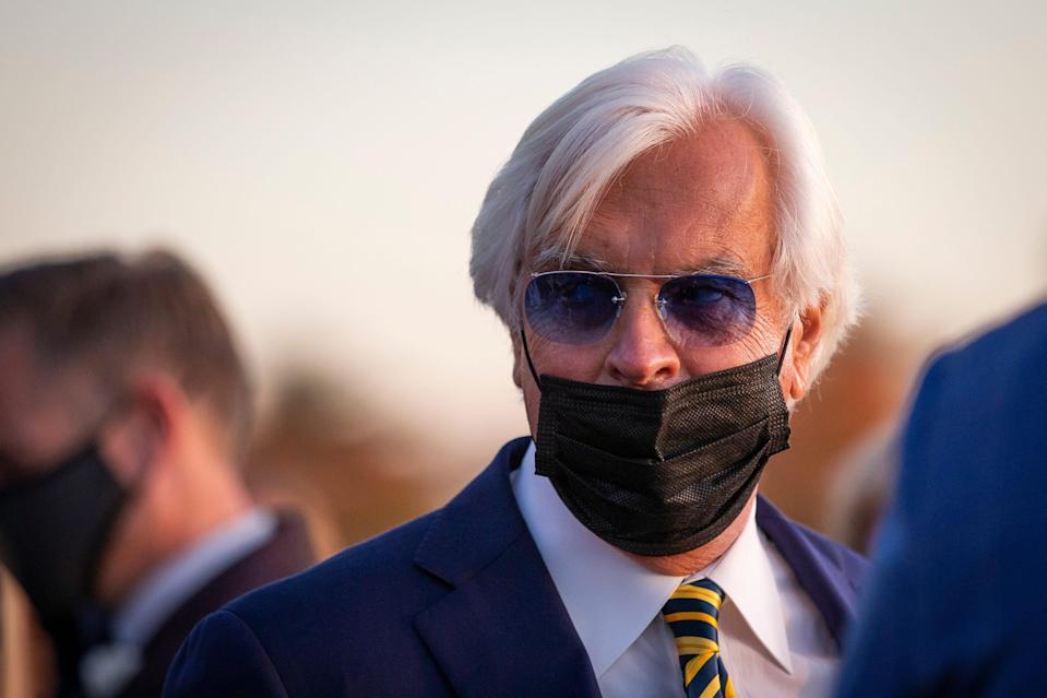 Authentic trainer Bob Baffert talks to the media after Authentic's win in the Longines Breeders' Cup Classic race during the 37th Breeders Cup World Championship at Keeneland Race Track. Authentic won the Kentucky Derby earlier in the year.