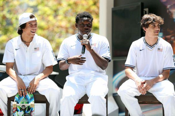 PHOTO: Zion Wright speaks during United States Olympic skateboarding team announcement at L.A. LIVE on June 21, 2021 in Los Angeles. (Ronald Martinez/Getty Images)