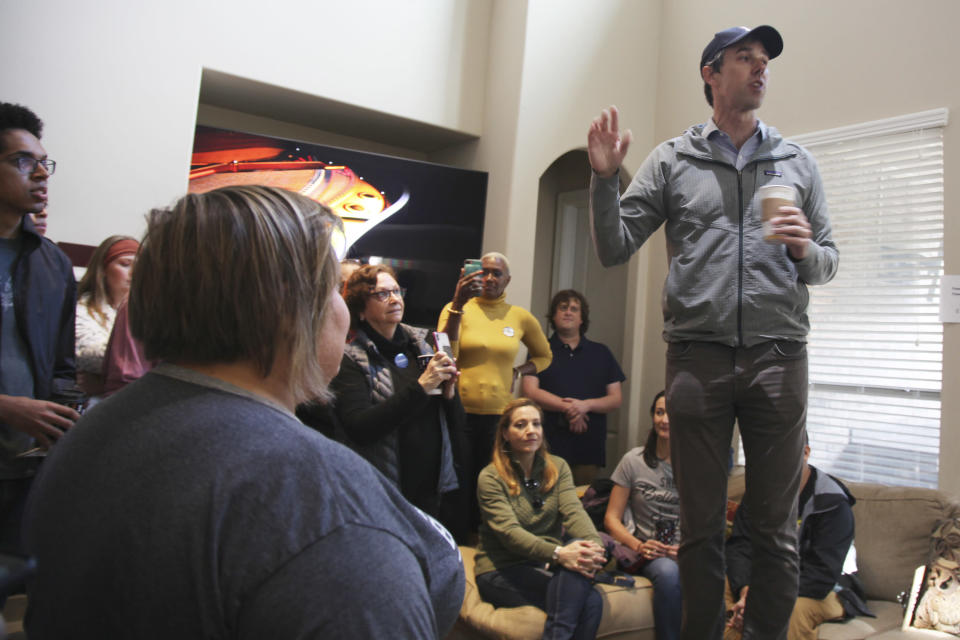 In this January 11, 2020 photo Beto O'Rourke, a former presidential candidate, senate candidate and congressman gives a pep talk to campaign volunteers canvassing for Eliz Markowitz in Katy, Texas. O'Rourke and other national Democrats like former vice president Joe Biden have endorsed Markowitz. Her special election in a district composed of suburbs west of Houston is being viewed as a bellwether for 2020 politics. (AP Photo/ John L. Mone)