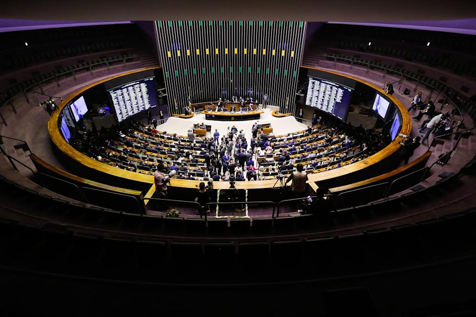 General view of the plenary session of the chamber of deputies in which the new president of the Lower House was elected, in Brasilia on February 1, 2021. - Brazil's Congress on Monday elected Rodrigo Pacheco as Senate speaker, an ally of far-right President Jair Bolsonaro, whose political future could hang in the balance ahead of the lower house's vote. (Photo by Sergio Lima / AFP) (Photo by SERGIO LIMA/AFP via Getty Images)