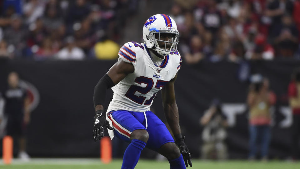 Buffalo Bills cornerback Tre'Davious White (27) hasn't decided if he'll play this season. (AP Photo/Eric Christian Smith)