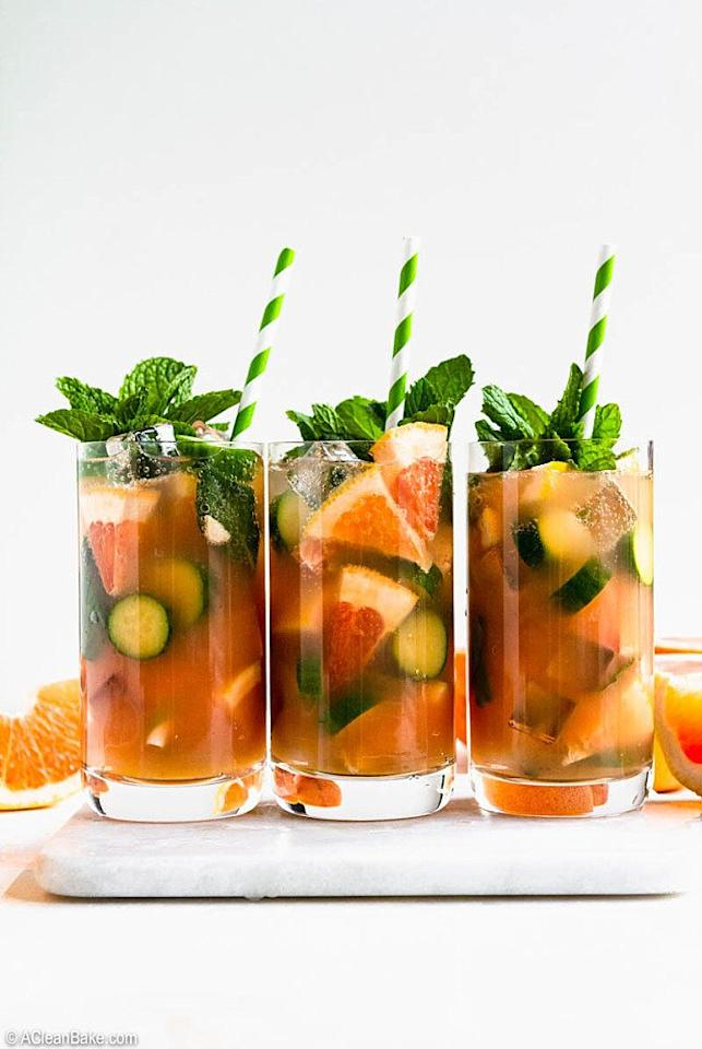 "<p>Unlike most spritz drinks, this bevvy gets its bubbly side from <a href=""https://www.shape.com/healthy-eating/are-flavored-waters-diet-soda-disguise"" target=""_blank"">calorie-free club soda</a>. That makes it one of the best summer cocktails if you're counting calories or are craving a second round later in the day. Vodka, fresh mint, and a drizzle of honey round out the cool cocktail ingredient list.</p> <p><strong>Get the recipe:</strong> <a href=""https://acleanbake.com/grapefruit-mint-vodka-spritz/"" target=""_blank"">Grapefruit Mint Vodka Spritz</a></p>"
