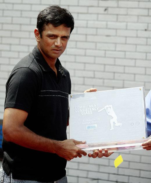 When Dravid crossed 10,000 Test runs, a wall was built at his home ground – the Chinnaswamy stadium in Bangalore to commemorate the landmark. The wall contains 10,000 bricks, a silhouette of Dravid batting and the words 'Commitment,   Consistency, Class' inscribed on it. The wall also has a digital run counter on it that keeps updating the number of Test runs Dravid has scored.