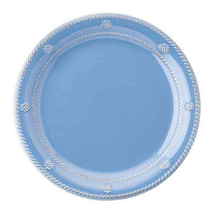 """<p><strong>$22.00</strong></p><p><a href=""""https://www.juliska.com/berry-thread-melamine-chambray-dessert-salad-plate"""" rel=""""nofollow noopener"""" target=""""_blank"""" data-ylk=""""slk:Shop Now"""" class=""""link rapid-noclick-resp"""">Shop Now</a></p><p>Juliska's classic designs are now offered in a sturdy yet stylish melamine, which is perfect for outdoor entertaining. </p>"""