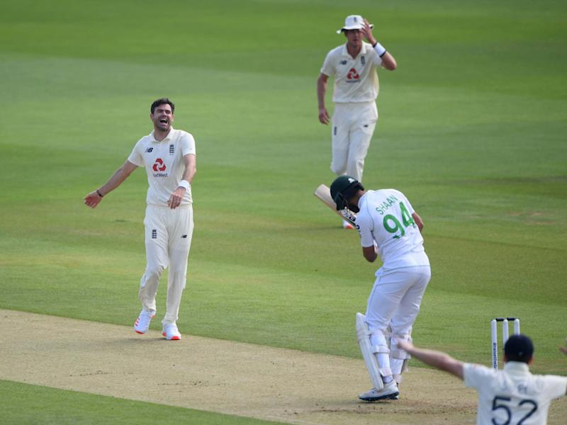 James Anderson celebrates taking the wicket of Pakistan's Shan Masood lbw: Reuters