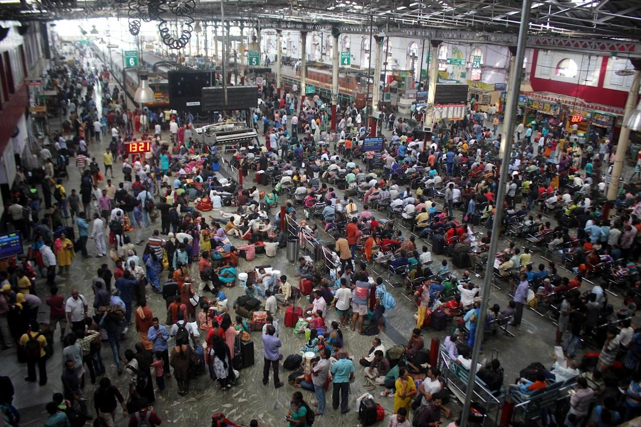 <p>People stranded at a Chennai Railway station after cyclone Vardah lashed the city on Dec 13, 2016. (Photo: IANS) </p>
