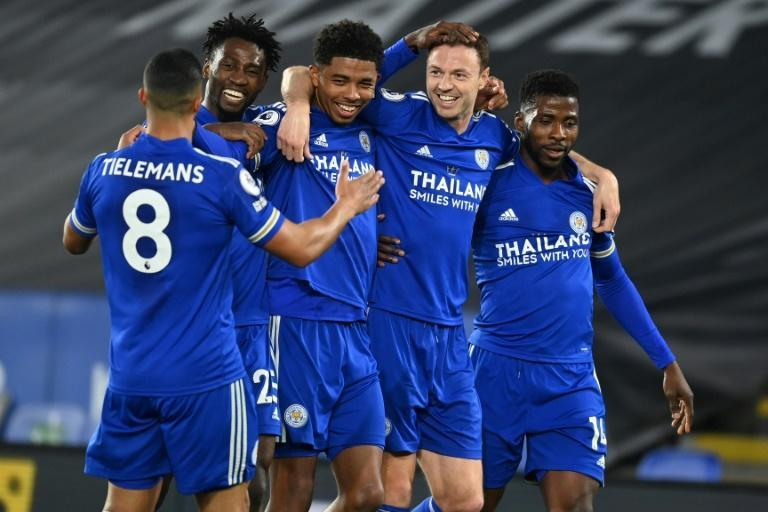 Leicester City defender Jonny Evans (2nd right) celebrates his goal against West Brom