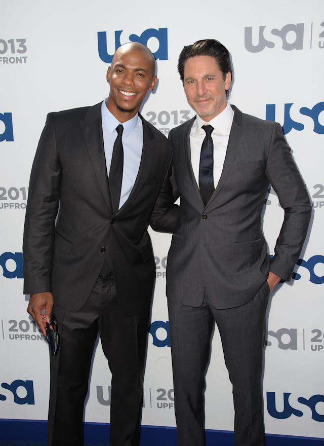 NEW YORK, NY - MAY 16: Mehchad Brooks and Scott Cohen attends USA Network 2013 Upfront Event at Pier 36 on May 16, 2013 in New York City. (Photo by Dave Kotinsky/Getty Images)