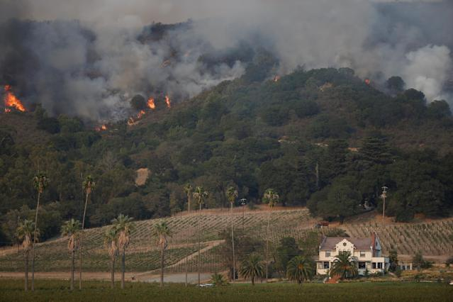 <p>Flames burn on a hillside near Napa Road during the Nuns Fire in Sonoma, Calif., Oct. 9, 2017. (Photo: Stephen Lam/Reuters) </p>