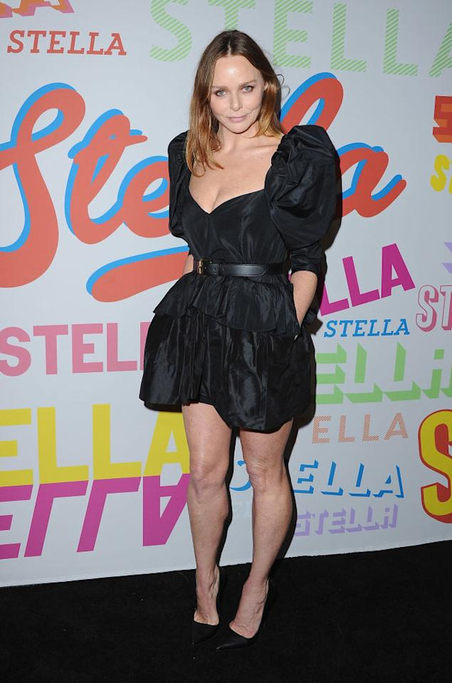 <p>Stella McCartney arrived to her AW18 presentation in a little black dress finished with supersized sleeves. <em>[Photo: Getty]</em> </p>