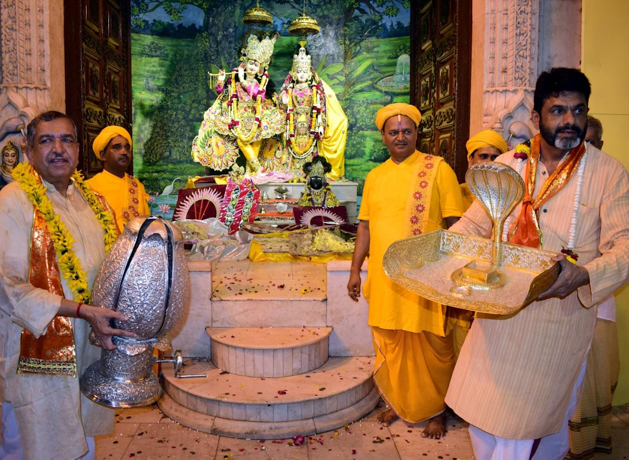 <p>Krishna Janmashtami celebrations underway at Shri Krishna Janmabhoomi Temple in Mathura on September 2, 2018. (IANS) </p>