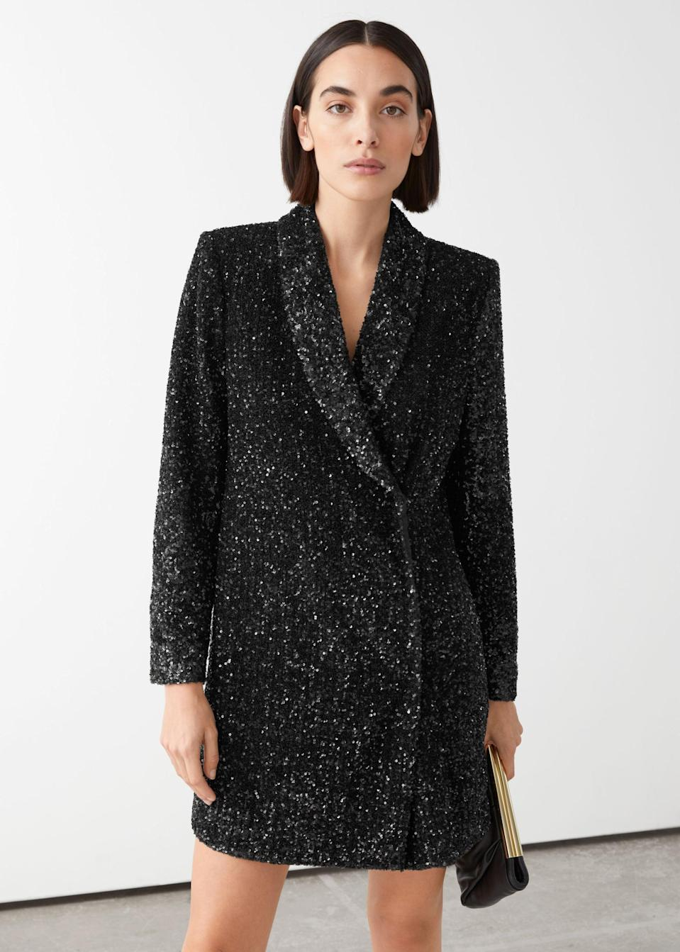 <p><span>&amp; Other Stories Sequin Double Breasted Blazer Dress</span> ($89, originally $179)</p>