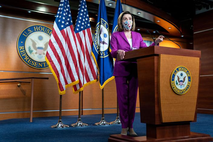Speaker of the House Nancy Pelosi (D-CA) takes questions from reporters during a press conference on Capitol Hill a day after a pro-Trump mob broke into the U.S. Capitol Building while Congress voted to certify on Thursday, Jan. 7, 2021 in Washington, DC. (Kent Nishimura / Los Angeles Times via Getty Images)