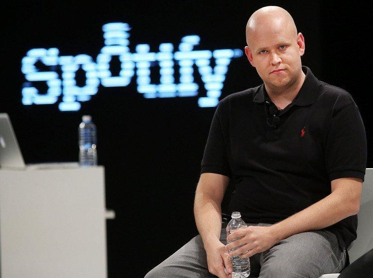 Spotify co-founder Daniel Elk speaks at a Spotify event in New York City on December 6, 2012