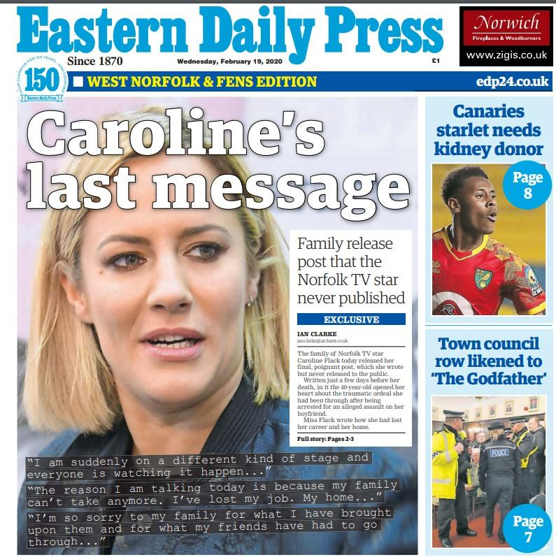 Caroline Flack's family released a social media post in the Eastern Daily Press which the presenter had never published. (PA)