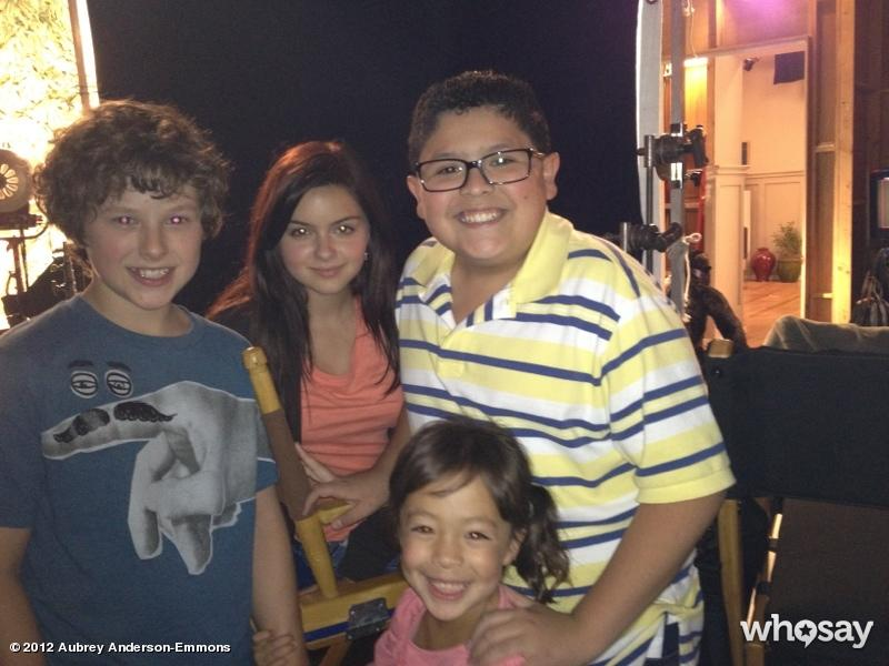 """Speaking of Aubrey Anderson-Emmons, she tweeted <a href=""""http://www.whosay.com/aubreyandersonemmons/photos/208996"""">this pic of herself</a> and three of the other """"Modern Family"""" kids, saying """"1st day back on the #ModernFamily set w @Nolan_Gould @arielwinter1 & @StarringRico Having fun! :)"""" That's cute and all, but there's a bigger story here: Baby Lily has a Twitter account?"""