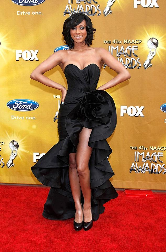 "Keri Hilson rose to the occasion in a flamenco-style Rami Kashou gown at the 41st NAACP Image Awards in Los Angeles. Todd Williamson/<a href=""http://www.wireimage.com"" target=""new"">WireImage.com</a> - February 26, 2010"