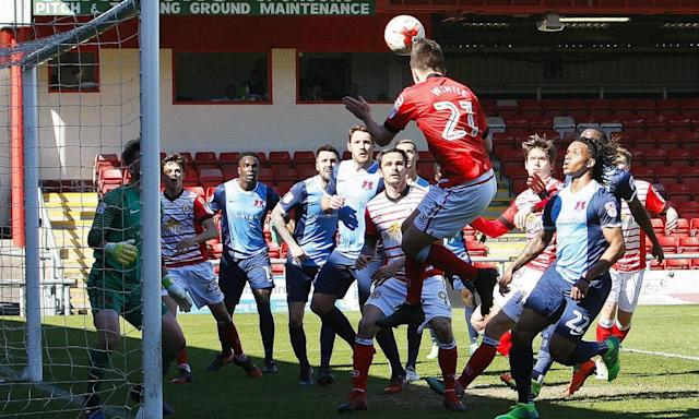 """<span class=""""element-image__caption"""">Crewe's Ryan Wintle gets up at the back post to head in the second goal of the game against Leyton Orient at the Alexandra Stadium. </span> <span class=""""element-image__credit"""">Photograph: ProSports/Rex/Shutterstock</span>"""