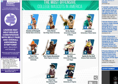 A screenshot of the survey results that ranked the Notre Dame leprechaun as fourth most offensive college mascot. The survey has since been removed.