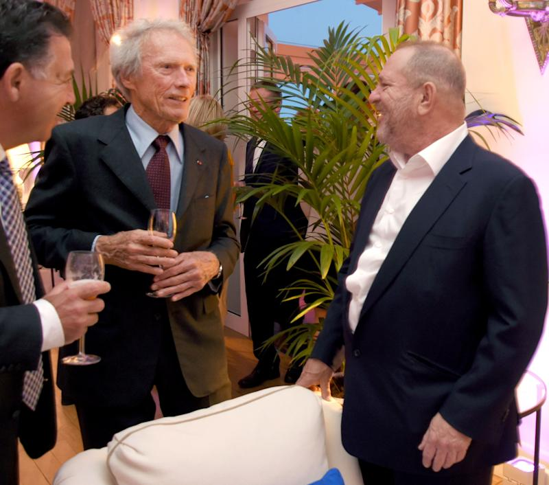 Clint Eastwood (L) and Weinstein attenda dinner in Cap d'Antibes, France, on May 20, 2017.
