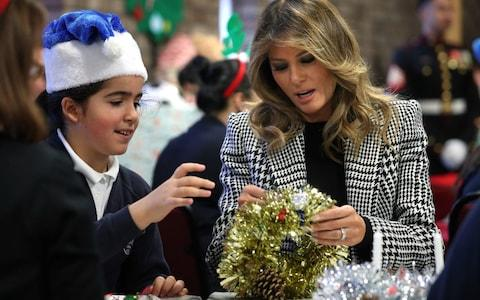 First Lady Melania Trump during a visit to the Salvation Army Clapton Centre - Credit: Yui Mok/PA