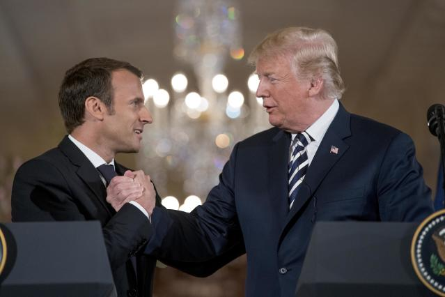Trump and Macron shake hands during a news conference in Washington. D.C., on April 24, 2018. (Photo: Andrew Harnik/AP)