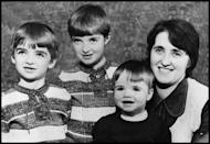 <p>Family portrait of the Gallagher family in the mid 1970s from left to right Noel, Paul, Liam and Mother Peggy Gallagher. </p>