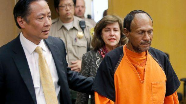 PHOTO: Jose Ines Garcia Zarate, right, is led into the courtroom by San Francisco Public Defender Jeff Adachi, left, and Assistant District Attorney Diana Garciaor, center, for his arraignment at the Hall of Justice in San Francisco on July 7, 2015. (Michael macor/San Francisco Chronicle/AP)