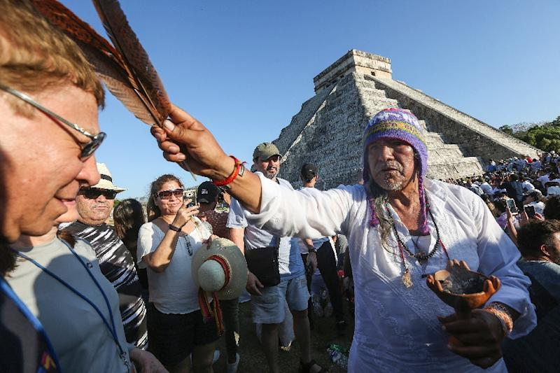 A ceremony is held at the ancient city of Chichen Itza (AFP Photo/HUGO BORGES)