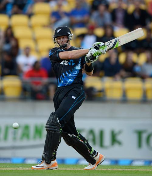 Martin Guptill of New Zealand bats during the third Twenty20 International match between New Zealand and England at Westpac Stadium on February 15, 2013 in Wellington, New Zealand.  (Photo by Gareth Copley/Getty Images)