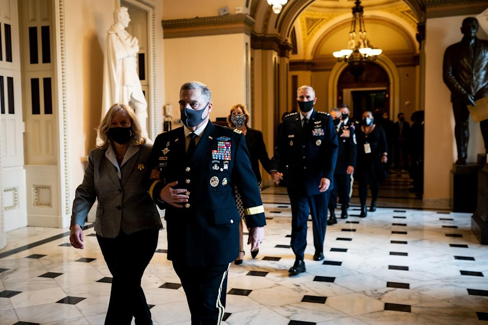 Gen. Mark Milley, chairman of the Joint Chiefs of Staff, walks to pay his respects as the late Justice Ruth Bader Ginsburg at the Capitol on Sept. 25, 2020.