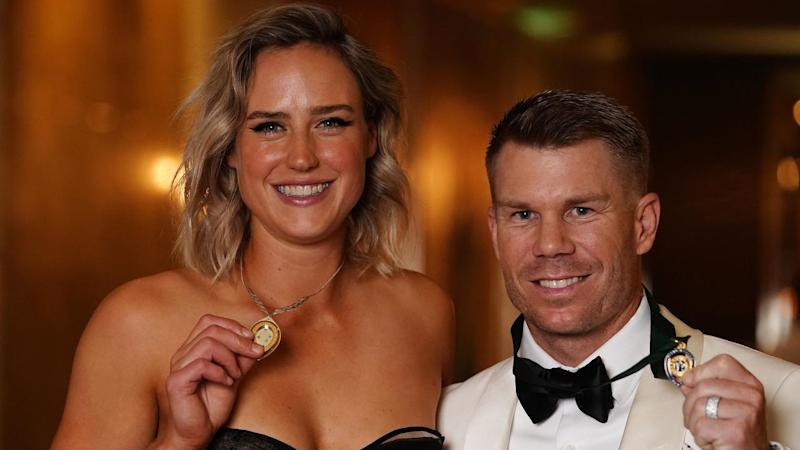 Elysse Perry and David Warner pictured holding the top gongs at Australian Cricket Awards