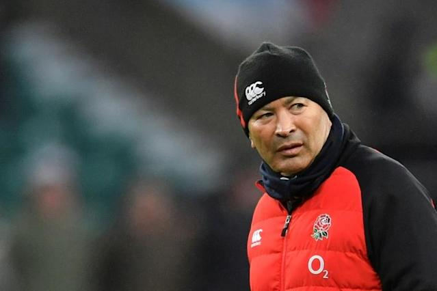 England's coach Eddie Jones is seen during the warm up for the Six Nations international rugby union match against Wales February 10, 2018