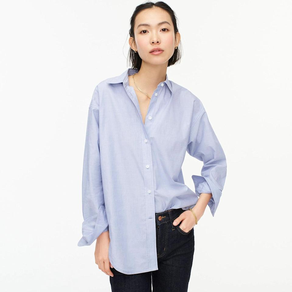 <p>This <span>J.Crew Relaxed-fit End-on-end Cotton Shirt</span> ($55, originally $80) can be worn loose and oversized or tied up tight; the opportunities are endless.</p>