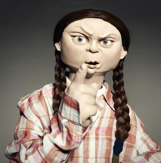 Spitting Image's depiction f environmental activist Greta Thunberg
