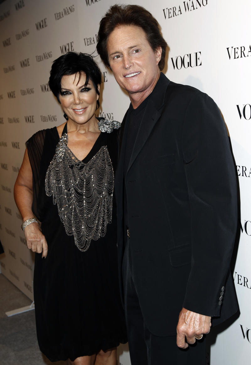 "FILE - This March 2, 2010 file photo shows Kris Jenner, left, and Bruce Jenner at the Vogue Magazine dinner celebrating the launch of the Vera Wang store on Melrose in West Hollywood, Calif. The celebrity couple have confirmed they separated a year ago, after 22 years together. In an interview with US Weekly magazine hitting newsstands Friday, Oct. 11, 2013, Kris Jenner said ""There is no animosity. We are united and committed to our family."" (AP Photo/Matt Sayles, File)"