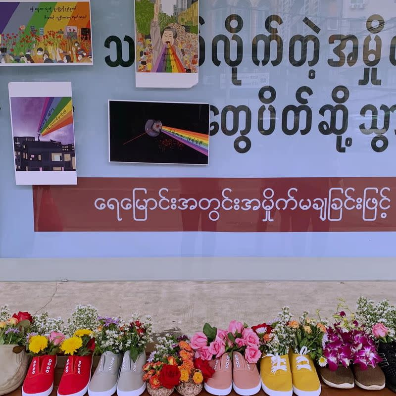 Shoes are seen during Marching Shoes Strike in honour of the people who have been killed since the start of the military coup, in Yangon