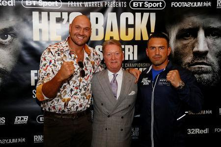 Boxing - Tyson Fury & Sefer Seferi Press Conference - The Midland Hotel, Manchester, Britain - June 6, 2018 Tyson Fury, promoter Frank Warren and Sefer Seferi after the press conference Action Images via Reuters/Jason Cairnduff